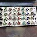 卸売1セット40ピース925スターリングシルバー蝶女性イヤリングスタッド混合色キュービックジルコニアファッションジュエリーパーティーギフト