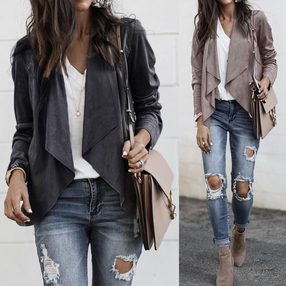 Womens  Long Sleeve Leather Jacket Suit Solid Open Front Short New Fashion Cardigan Suit Casual Work Office Coat
