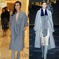 2016 ESTRELLAS AMA de largo de lana de cachemira de invierno vestido femenino abrir stitch abrigo gris de color azul mujeres baggy tall outwears señora tops 003