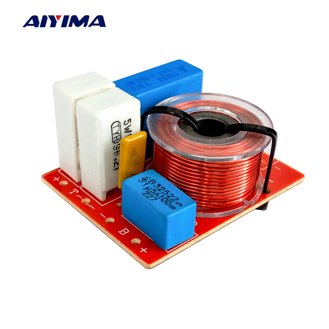 Aiyima 2PC 80W 2 Way Crossover Audio Treble Bass Frequency Divider 2 Units Crossover Filter For 4-8Ohm 5Inch Speaker DIY