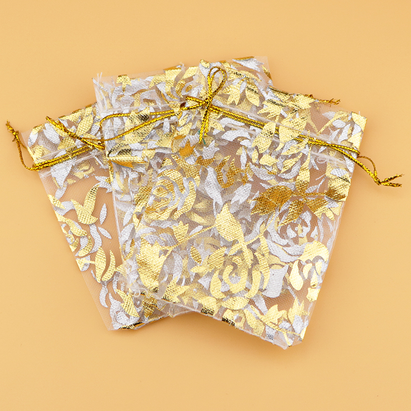 GOLD ROSE LOT OF 100 PAPER GIFT BAGS  /& JEWELRY BAGS