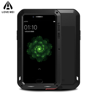 LOVE MEI Armor Case for OPPO R9 Plus / R9s Plus Case Waterproof Shockproof Metal Powerful Case Cover Tempered Glass Protector