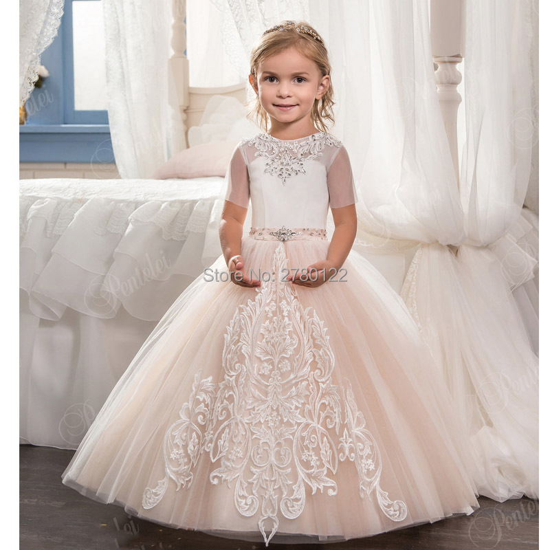 Elegant Short Sleeve Lace Appliques Ball Gown Flower Girls Dresses For Wedding Little Girls Pageant Gowns First Communion Dress