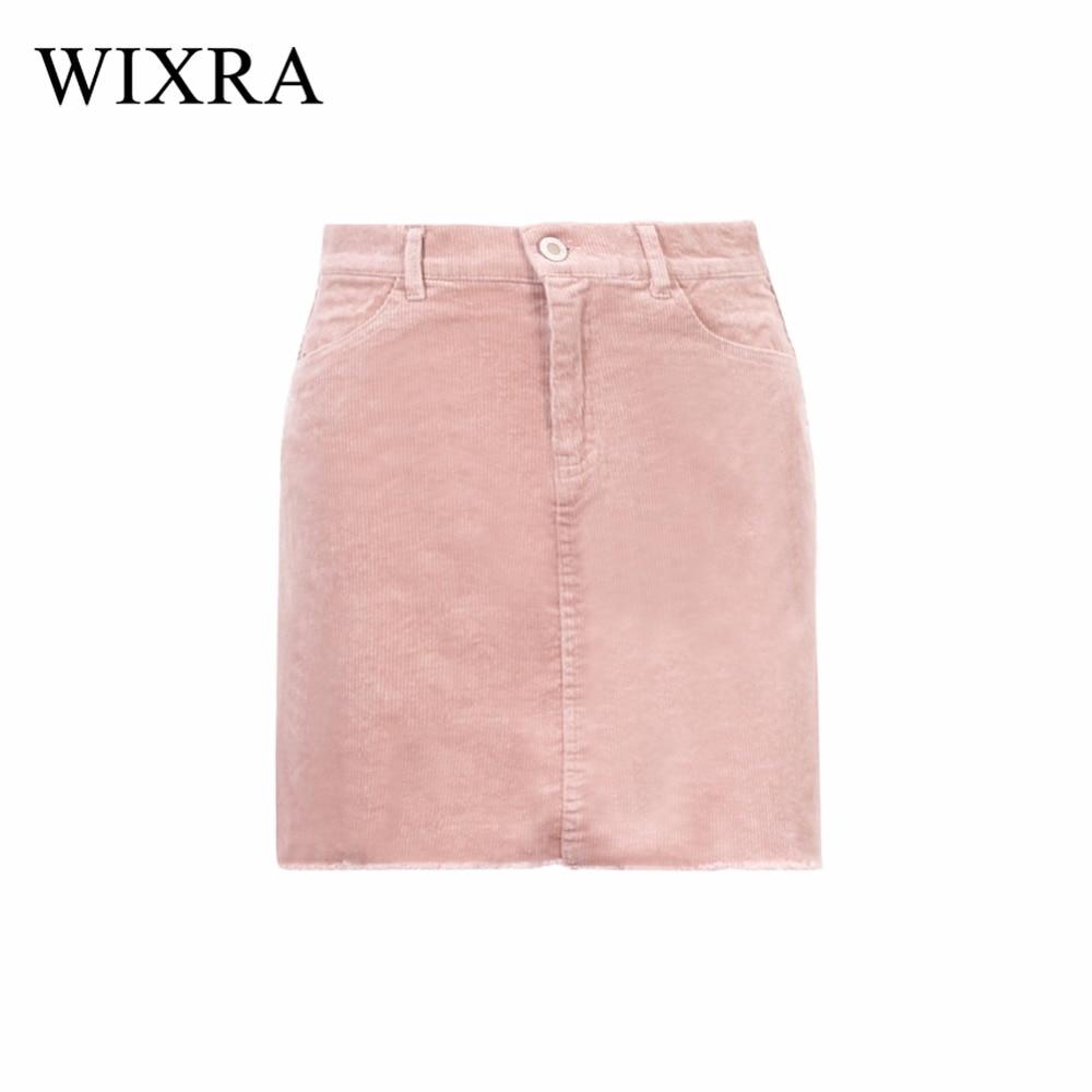 Wixra Basic Skirts Women 2018 Spring Autumn Corduroy Black Pink Skirt Vintage Mini Skirts Sexy Fashion Pencil Skirts