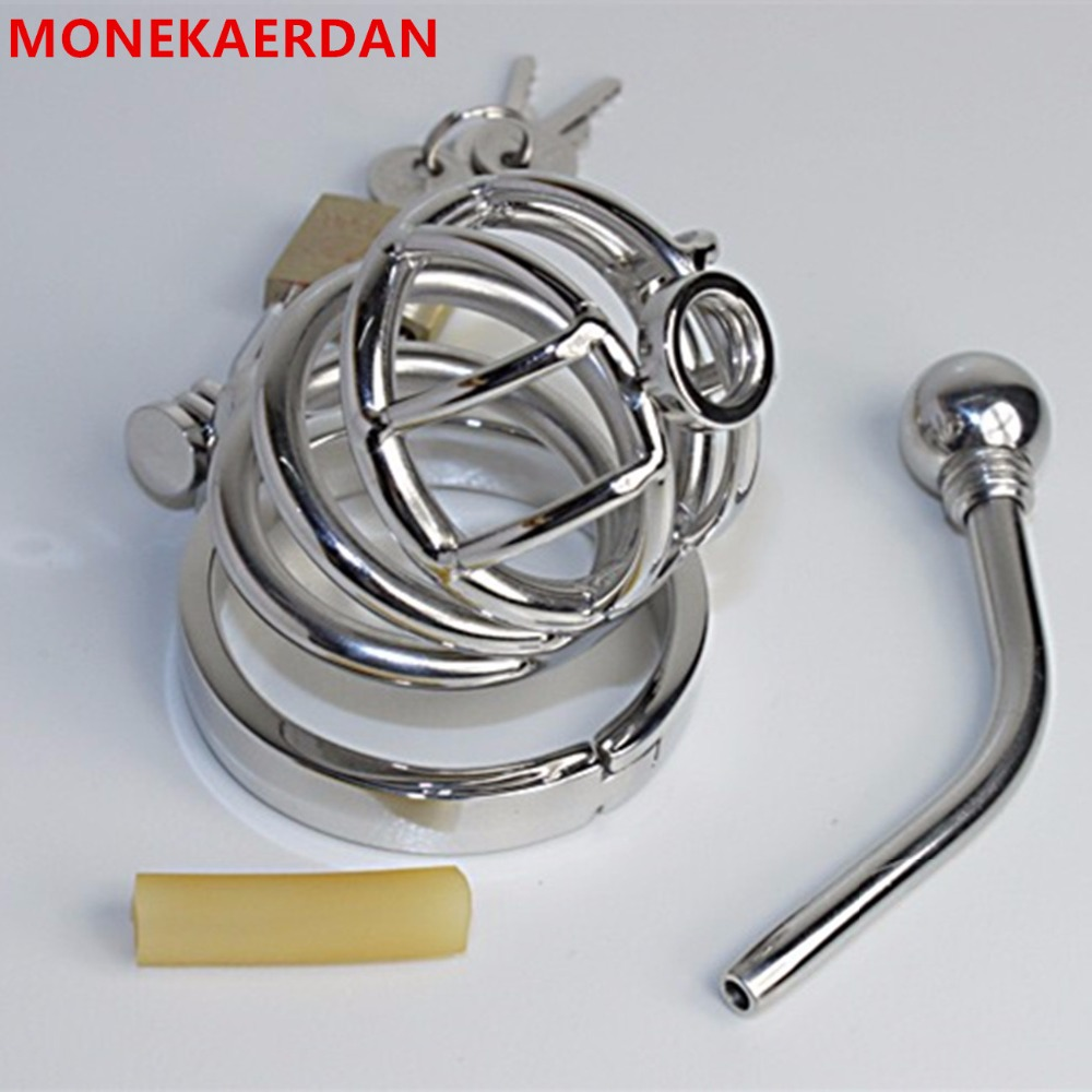 Male Penis Rings Cock Cage With Metal Catheter Stainless Steel Chastity Device , Fetish Sex Products Adult Toys For Men - AJ22 цена