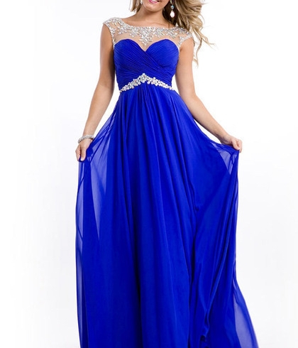 Hot Sale Royal Blue Yellow Red Long   Prom     Dresses   Sheer Beaded Neck Cap Sleeve Crystal Chiffon Party Gowns Vestidos ZY057