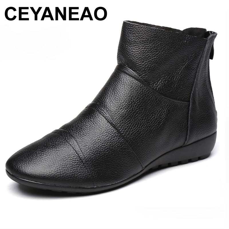CEYANEAOWomen Winter Boots Fashion Genuine Leather Ankle Boots Women Round toe Flat Shoes Soft-soled Woman Snow Boots Plus Size odetina fashion genuine leather ankle boots flat woman round toe platform lace up boots autumn winter casual shoes big size 43