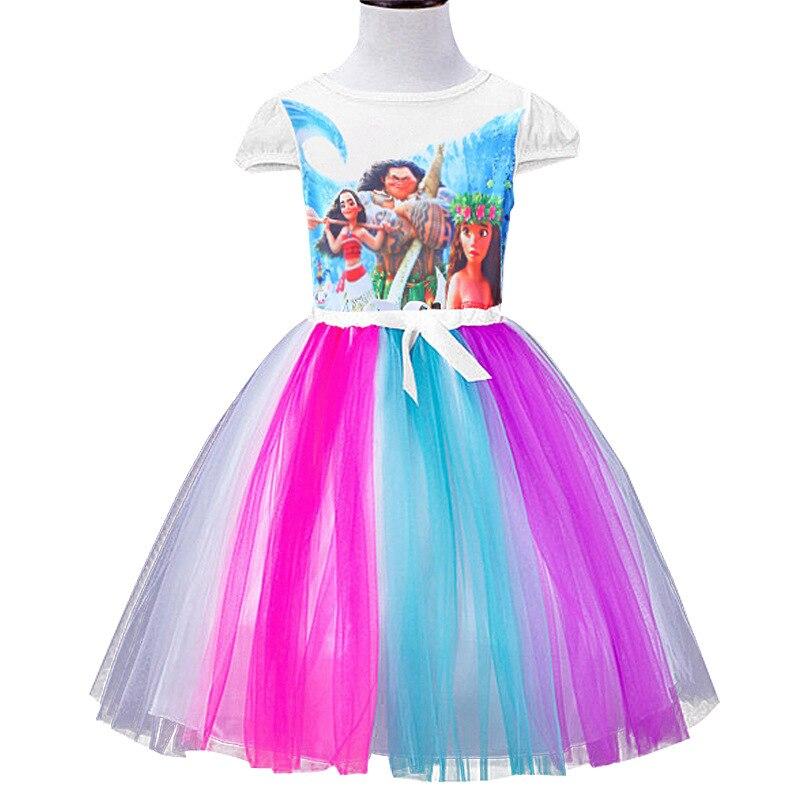 2018 Sommerkleid Neue Regenbogen Moana Mädchen Kleid Bunte Hallo - Kinderkleidung - Foto 2