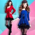 Alibaba frete grátis expressa 2016 nova mulheres outono inverno Coreano grande tamanho O Pescoço sexy clube fino vestido de renda de manga comprida Uma palavra