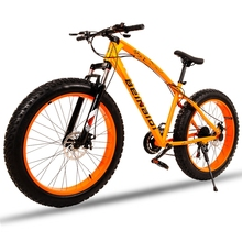 for Russia mountain bike 7/21speed bicycle 26×4.0 fat bike Spring Fork snow bike road bike Front and Rear Mechanical Disc Brake