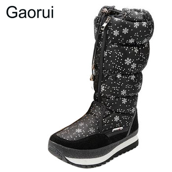 New Brand Winter Women Platform Snow boots Snowflake Round Toe Lace-up leg Med-calf High Female Thick Warm Boots Plus Size