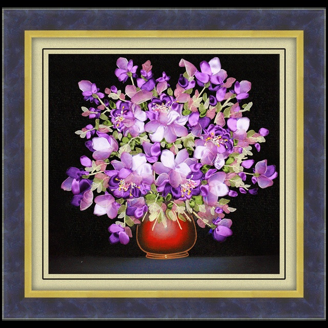Diy Ribbon Embroidery Of Purple Flowers Three Dimensional Painting