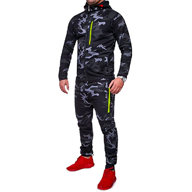 CALOFE Running Sets Men Sports Autumn Gym Printed Jogging 2Pc Sportwear Running Sets 2018 For Man Suits Camo Male Training Sets 6