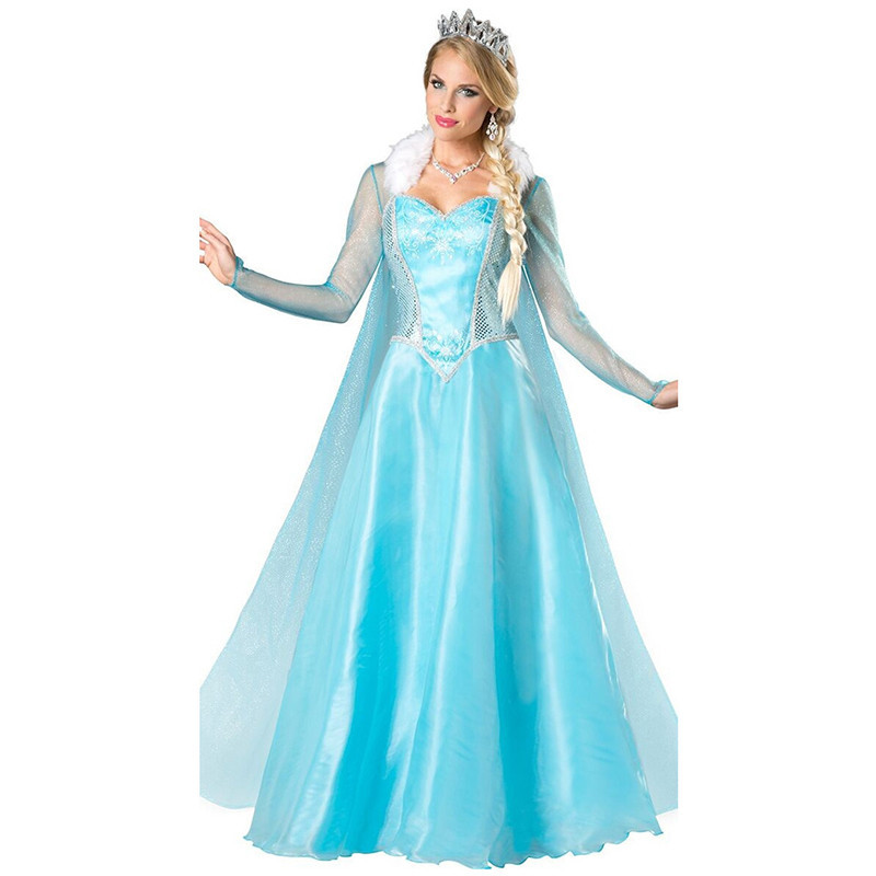 Creative Olaf's Adventure Elsa Cosplay Costume Princess Fancy Dress Sequined Outfit Snow Queen Cosplay Halloween Party Clothing Adult Good For Antipyretic And Throat Soother