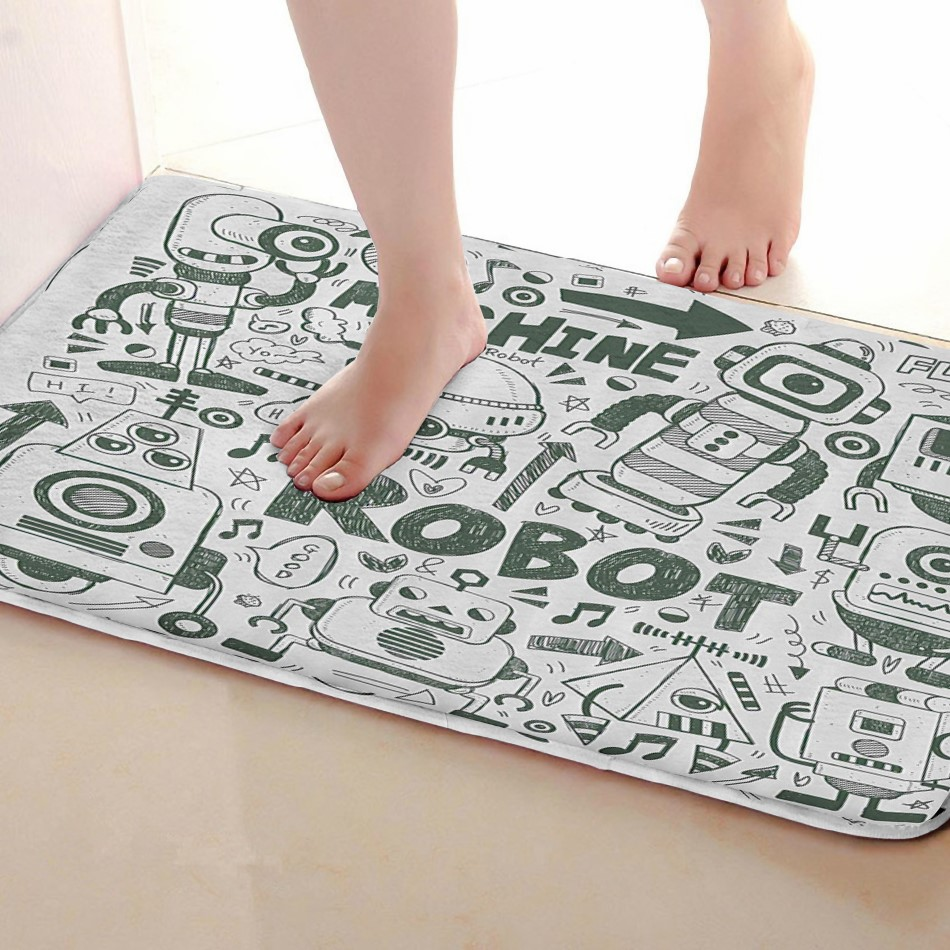 Robot Style Bathroom Mat,Funny Anti skid Bath Mat,Shower Curtains Accessories,Matching Your Shower Curtain