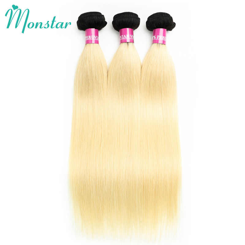 Monstar Ombre Blonde Two Tone Donkere Wortel Remy Peruaanse Steil Haar Weave 2/3/4 Bundel Met 13X4 Kant Frontale Sluiting Oor Tot Oor