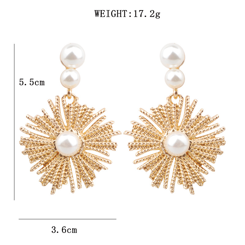 New Arrive Silver Gold Color Earrings Big Sun Flower Metal Dangle Pearl Drop Earrings Fashion Simple Accessories Jewelry brinco in Drop Earrings from Jewelry Accessories