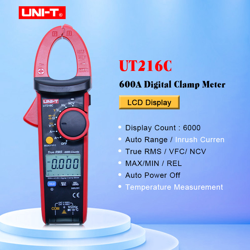 UNI T UT216C Digital Clamp Meters True RMS 600A NCV V F C Diode LCD Work