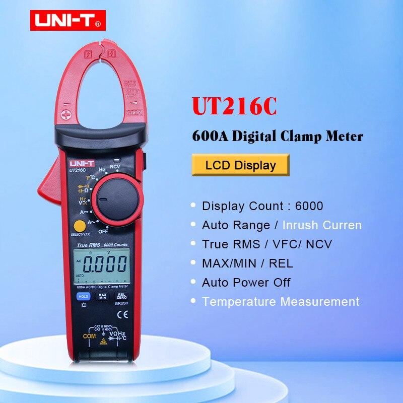 UNI-T UT216C pince numérique mètres vrai RMS 600A NCV V.F.C Diode LCD travail lumière température Test AC DC gamme automatique multimètres