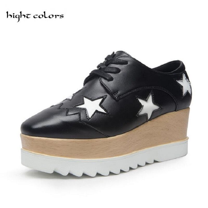 33~41 SIZE 2018 Genuine Leather Square Toe Fashion Casual Shoes Stars Lace-up Height Increasing Women Wedge Heels Platform Shoes summer air mesh women sandals fashion 2 colors open toe lace up wedge swing shoes height increasing platform sandals size 35 39