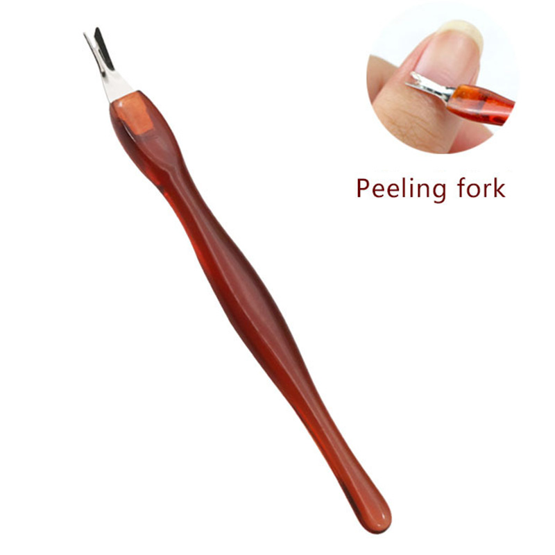 Manicure Nail Art Cuticle Pusher Trimmer Nail Tips Care Skin Remover Tool - Brown
