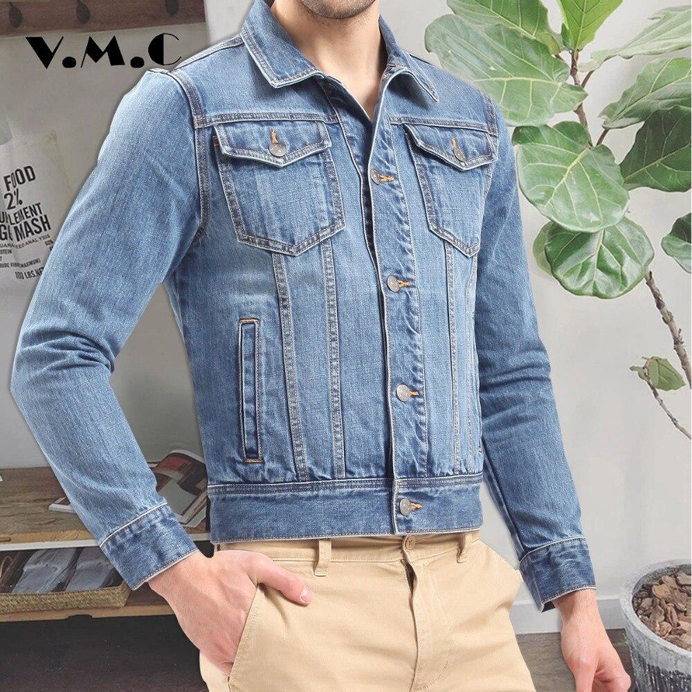 5889e742c68fc Hommes de denim veste Printemps Vêtements veste jean homme Casual Slim Fit hommes  jean veste 2017 hommes bleu solide manteau mâle VMC Marque manteau dans ...