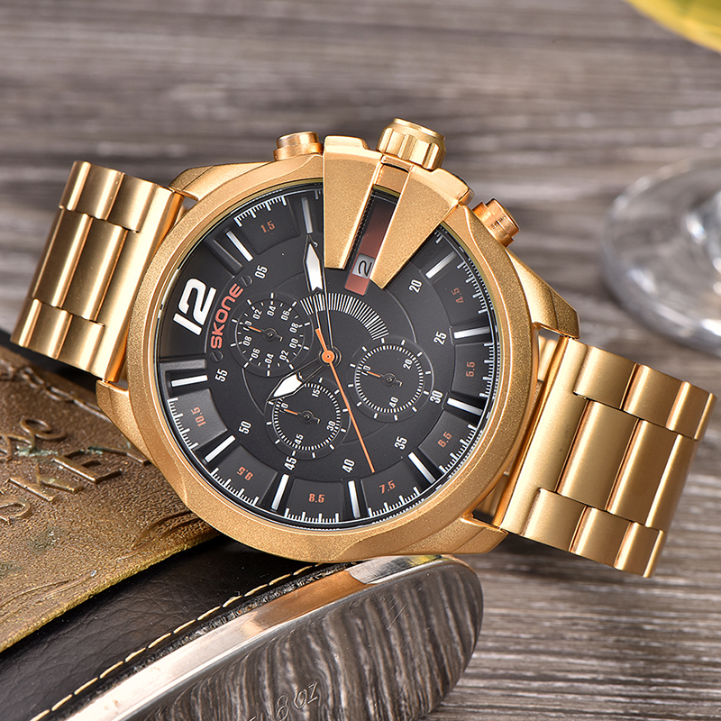 Skone Famous Design Luxury Watches Men Business Brand Quartz Clock Male Chronograph Waterproof Sport Men's Golden Wrist Watch