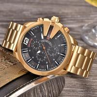Skone Famous Design Luxury Watches Men Business Brand Quartz Clock Male Chronograph Waterproof Sport Men's Golden Wrist Watch