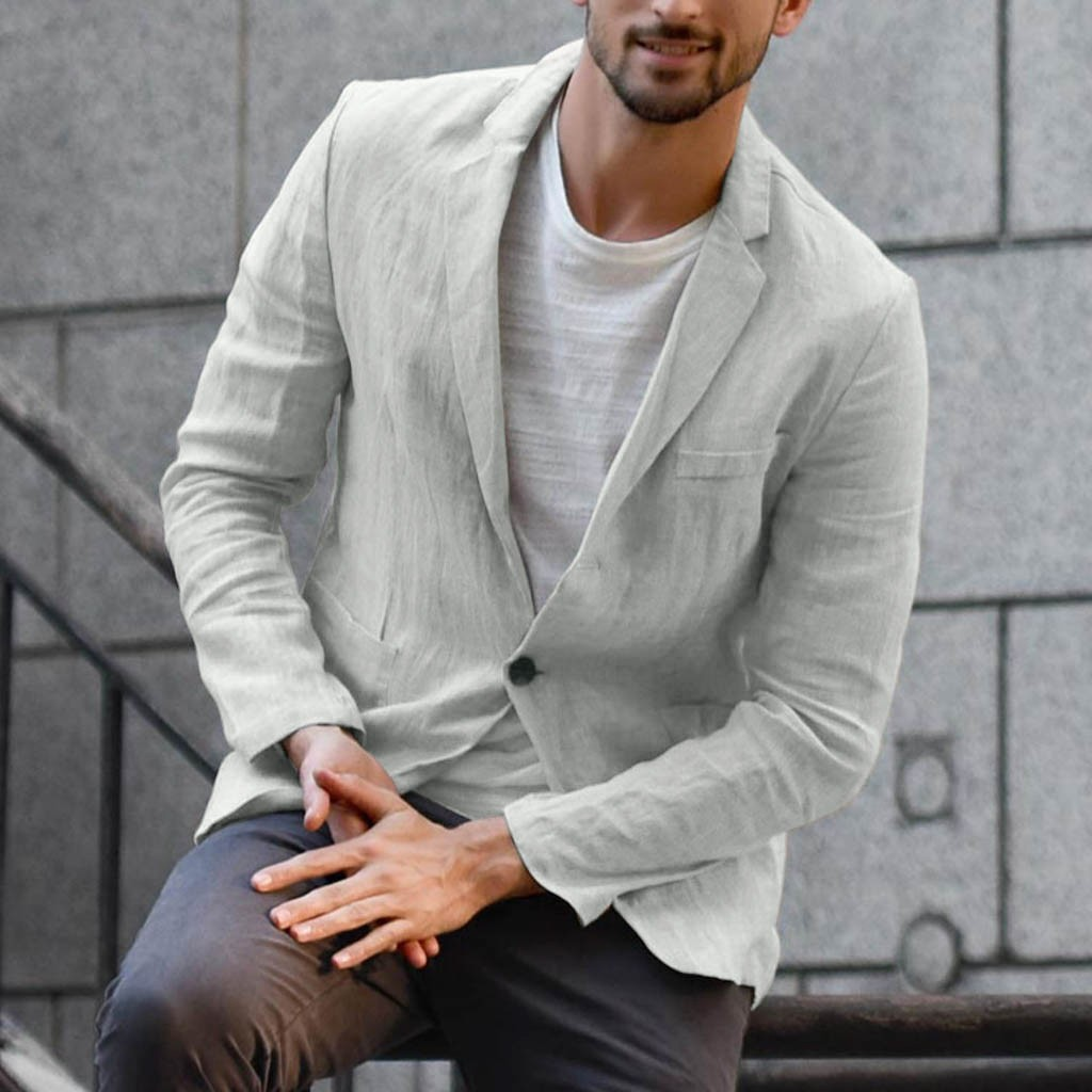 Men's Slim Fit Linen Blend Pocket Solid Long Sleeve Suits Blazer Outwear Fashion Summer Autumn New 2019 Hot Tops Black White 3XL