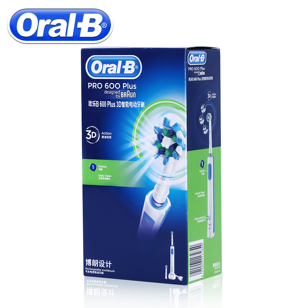 Image 2 - Oral B Rechargeable Electric Toothbrush PRO600 Plus 3D Cross Action Teeth Whitening Rotating Ultrasonic Electric Toothes Brush-in Electric Toothbrushes from Home Appliances