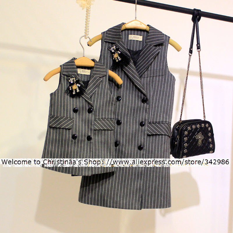 2018 Autumn child kids clothing Family Long suit vest double-breasted clothes for Mom girls boys Lady Woman Dark gray Vest coat ...