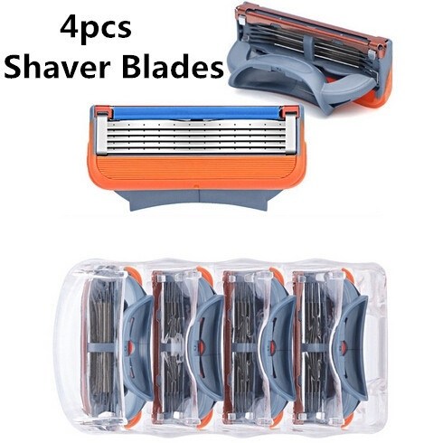 4pcs/lot Men Face Care 5 Layer Blades Shaving Razor Blades Gillett Fusion Power Shaver Blades Gilletts Proglide Shaving Blades