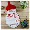 2015 muchacha Del Bebé Del verano sin mangas de estilo Botella de leche novedad traje de algodón 2 unids conjunto infantil sombrero rojo + blanco del niño del mono