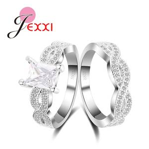 Finger-Rings-Set 925-Sterling-Silver ring Crystal Cross-Design Luxurious with Full-Clear