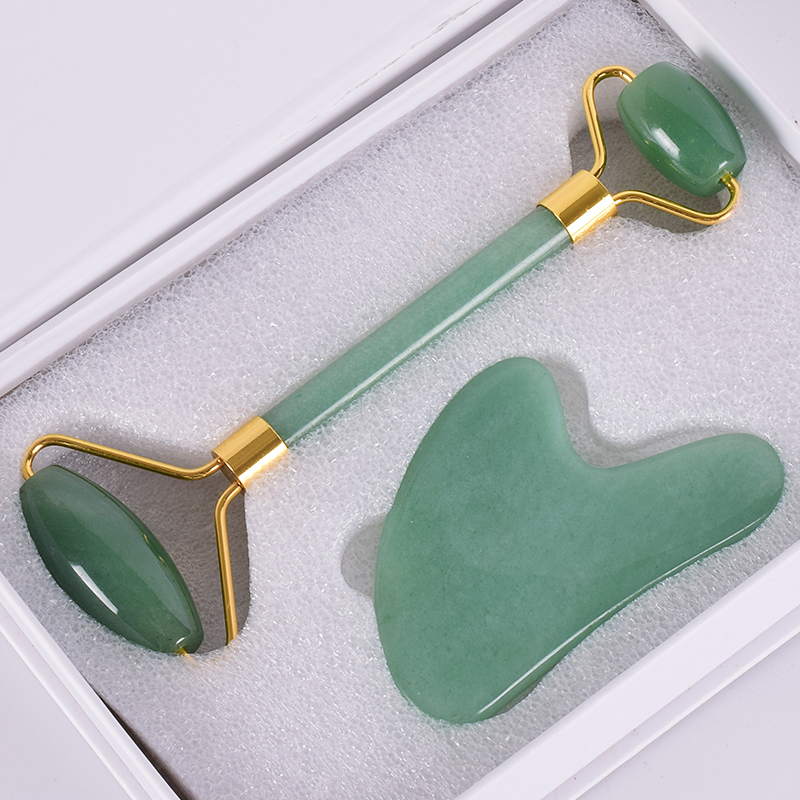 Raspagem Ferramenta Set Natural Aventurina Jade Rolo Rosto Massagem de Emagrecimento Anti Celulite Rugas Cristal Caixa De Presente De Pedra Gua Sha