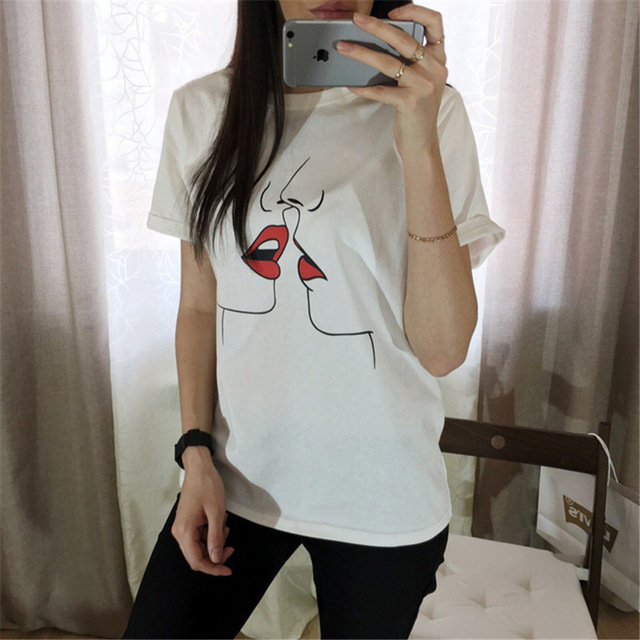 casual cartoon t-shirt woman summer loose white o-neck short sleeve female bottoming Tees t-shirt