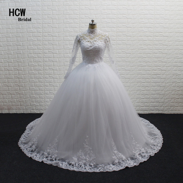 7ff9e9b87c9 Long Sleeve Muslim Wedding Dress 2019 High Quality White Lace Tulle  Princess Ball Gown Wedding Dresses Vestido De Casamento