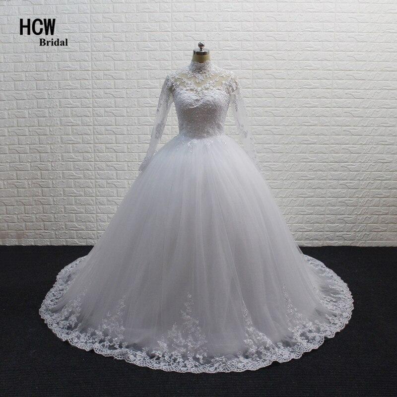 Long Sleeve Muslim Wedding Dress 2017 High Quality White Lace Tull Princess Ball Gown Wedding Dresses Vestido De Casamento