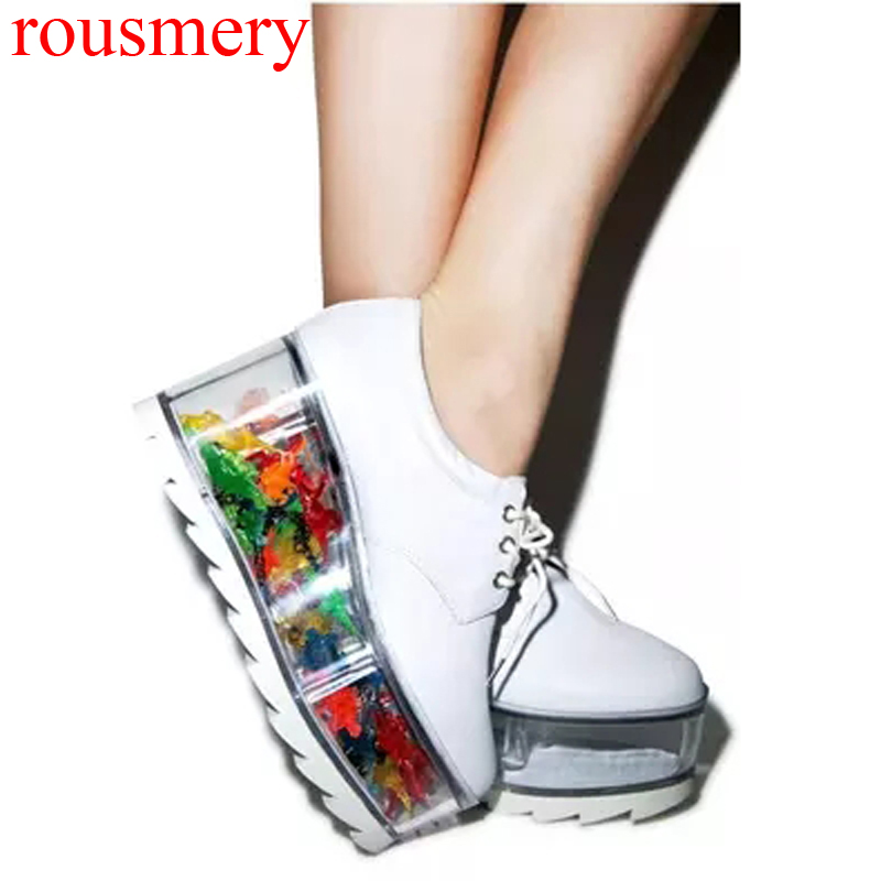 2017 Girl's Fall Thick Lucency PVC Platform Real Leather Casual Shoes Visible Holder Women Lace Up Spongecake Antiskid Shoes cut resistant glove level 5 wire anti edge anti stab knife cut resistant gloves stainless steel wire1pcs price