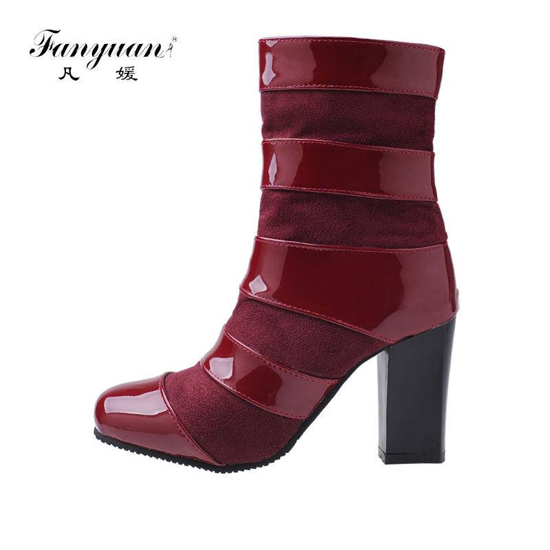 Mix With Fur Taille Plates Flock Cheville Zip formes Carrés Talon Sexy red Fanyuan Haute Chaussures Black black Fur Botas white Bottes Mujer Flock Couleur Vintage Flock Dames 47 Talons 32 white 5ARL4q3cj