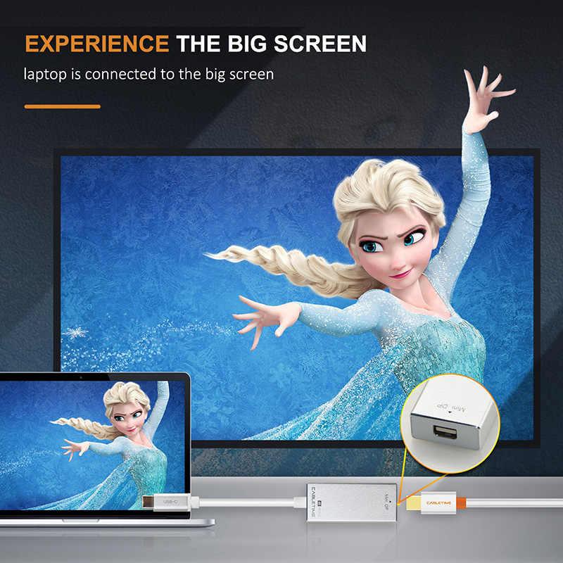 كابل USB C ديسبلايبورت صغير محول USB 3.1 نوع C إلى دب صغير ذكر إلى أنثى 4K 60Hz محول كابل لسامسونج HDTV C036