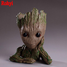 15cm Guardians of The Galaxy Flowerpot Baby Action Figures Cute Model Pen Pot Best Christmas Gifts Toys For Kids Home Decoration недорого