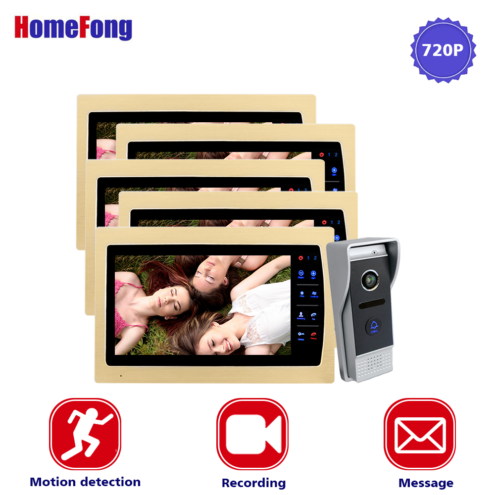 Homefong 10 Inch AHD Wired Color Video Door Phone Video Doorbell Intercom System 720P HD 2.8MM Lens Golden Metal Motion Record homefong 10 inch wired video door phone intercom system 720p ahd high resolution doorbell camera 4 monitors 1 call panel record