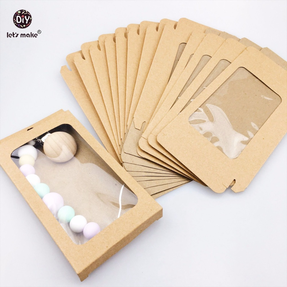 Let's Make Baby Gift Merchandise Packing Box 100pc Kraft Paper Wedding Wrapping Jewelry Supply Nursuing Pendants Accessories Box