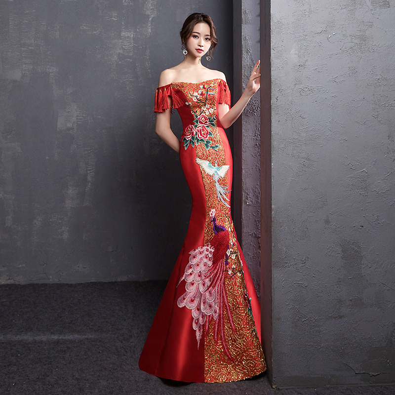 New Red Long Shoulder Dress Red Chinese Style Costume Women Adult Banquet Costume Stage Costume