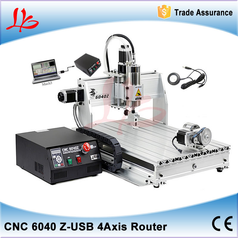 4 Axis USB Milling Machine CNC 6040 Mach3 manual Router with 1500W VFD spindle and auto-checking tool, USB port 3 axis cnc milling machines 3040zq usb port wood cutting machine with ball screw cnc router 4030
