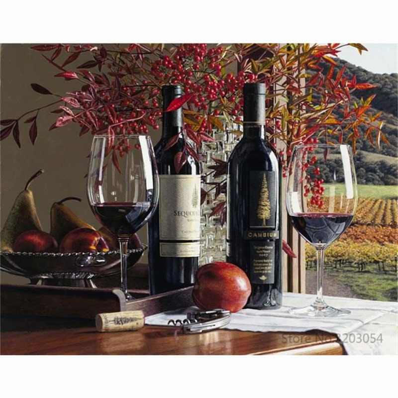 CHUNXIA Framed DIY Painting By Numbers Wine Fruit Acrylic Painting Modern Picture Home Decor For Living Room 40x50cm RA3381