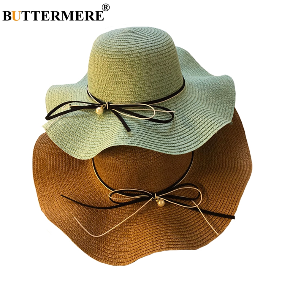 BUTTERMERE Womens Straw Hats Wide Brimmed Summer Elegant Panama Hat ... 4885a60e213f