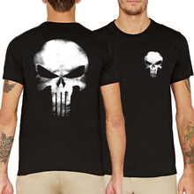 funny skull print men's hip-hop t-shirts 2017 summer The Punisher fashion unisex camisetas casual cotton brand clothing geek top