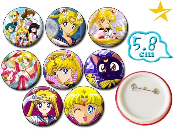 Giancomics Pretty Soldier Sailor Moon Anime Pins Set Brooch Badges PVC Button Cartoon Costume Backpack Ornament Accessory Gifts